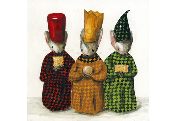 Paula Wallace - Three Wise Mice Celebrating the Birth of Cheeses