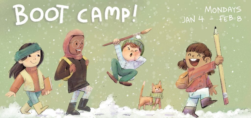 Boot camp banner with kids in snow